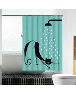 Lazy Cat Print Shower Curtain With 12 Eyelets And 12 Hooks - Lushomes