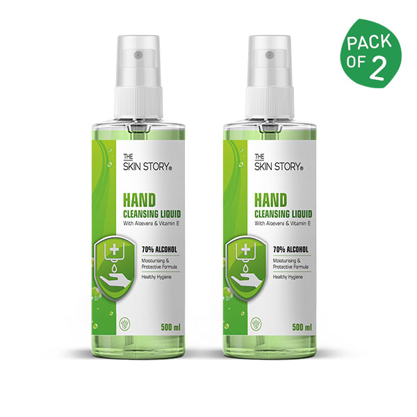 Hand Cleansing Liquid Sanitizer (500 ml x 2) - The Skin Story