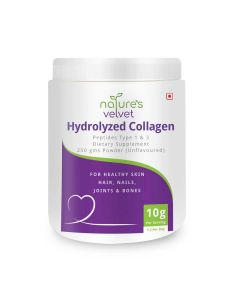 Hydrolysed Collagen Powder for Anti-Aging Skin and Bone Health (250 gm - Unflavoured) - Natures Velvet