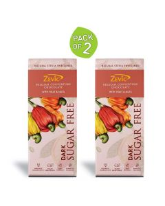 70 % Dark Belgian Couverture Chocolate with Organic Fruit and Nuts 40 gm each (Pack of 2)- Zevic