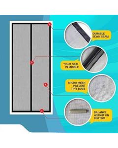 Mosquito Screen Net with Magnets for Doors (Black) - Lifekrafts