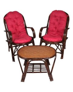 Brown Table and Chair Set Made of Rattan & Wicker - IRA