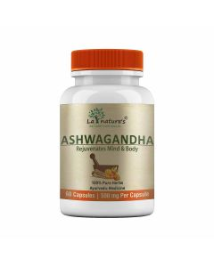 Ashwagandha 500 mg Capsules for Stress and Anxiety (60 Veg Capsules) - La Nature's