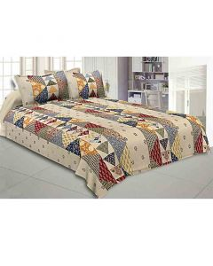 Cotton Double Bedsheet With 2 Pillow Covers (Colorful Patchwork Design) - Jaipur Fabric