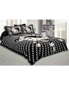 Cotton Double Bedsheet with 2 Pillow Covers (Black and White) - Jaipur Fabric