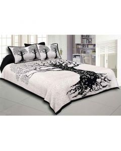 Tree Pattern Fine Cotton Double Bed Sheet - Jaipur Fabric