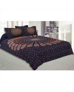 Mandala Double Bedsheet Tapestry with 2 Pillow Covers - Jaipur Fabric