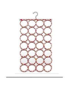 Scarf Hanger Organizer with 28 Rings (Multi-Colored)