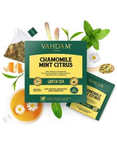 Chamomile Mint Citrus Green Tea (15 Tea Bags x 2 g each) - Vahdam Teas