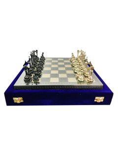 Brass Metal Chess Board Set With Storage Box - Chessncrafts