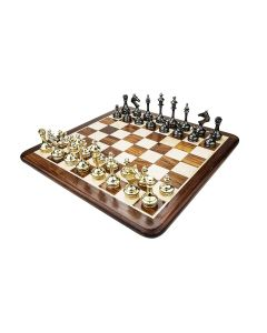 Brass And Wooden Chess Board Set - Chessncrafts