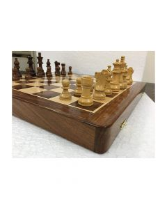 Brown Wooden Folding Magnetic Chess Board Game Set- Chessncrafts