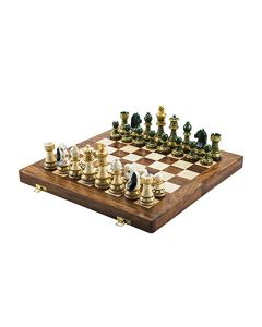 Wooden Hand Painted Folding Chess Board - Chessncrafts