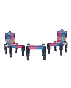 High Wooden Foldable Chair with Bajot (Set Of 2 Chairs - Muti-Color) - IRA