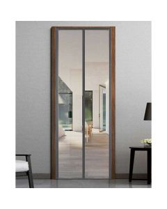 Magnetic Polyester Fiber Patio Door Curtain with Full Frame Hook and Loop - Grey (200 x 80 cm) - Classic Mosquito Net