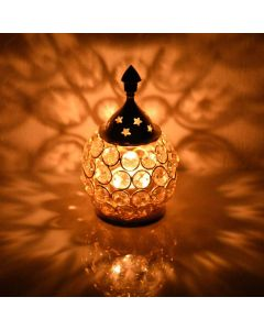 Decorative Brass Crystal Oil Lamp (Tea Light Holder Lantern) - Collectible India
