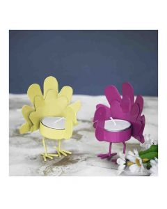 Yellow and Pink Bird T Light Holders (Set of 2) FL-T382 - Color Palatte