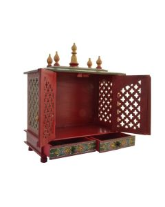 Wooden Temple with Door (18 x 9 x 22 Inch) Red - Kamdhenu Art And Craft