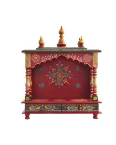 Wooden Temple For Home (20 x 11 x 24 Inch - Red) - Kamdhenu Art And Craft