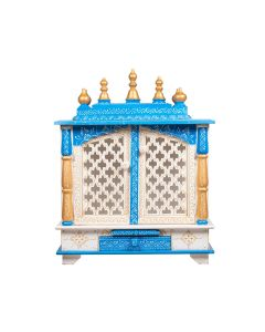 Wooden Temple For Home (18 x 12 x 24 Inch - White and Blue) - Kamdhenu Art And Craft