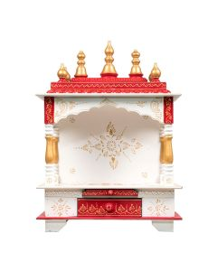 Wooden Open Temple For Home (18 x 12 x 24 Inch - White and Red) - Kamdhenu Art And Craft