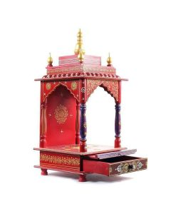Wooden Temple For Home (12 x 12 x 24 Inch - Red) - Kamdhenu Art And Craft