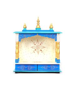 Wooden Temple (18 x 9 x 22 Inch) White and Blue - Kamdhenu Art And Craft
