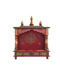 Wooden Temple (18 x 9 x 22 Inch) Red and Violet New- Kamdhenu Art And Craft