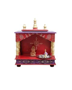 Wooden Temple (18 x 9 x 22 Inch) Red and Violet - Kamdhenu Art And Craft