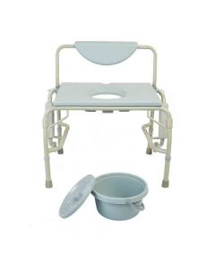 Deluxe Bariatric Drop-Arm Commode M302 (Grey) - Mobilita