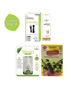 Combo Pack of Diabetic Socks, Diabetic Churan, Stevia Drops And Foot Cream - Vringra
