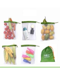 Multipurpose Mesh Drawstring Bag (Set of 5 with Multipurpose Storage Pouch) - Eco Nation