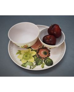 Flower Print Plate Cum Platter with Bowls - Color Palatte