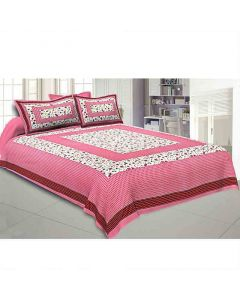 Floral Print Double Bedsheet with 2 Pillow Covers - Jaipur Fabric