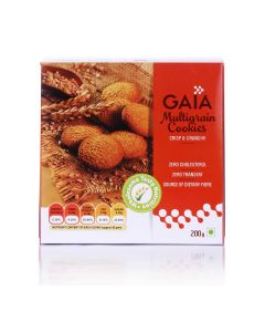 Multi-Grain Cookies Unflavoured 200 gm (Pack of 10) - GAIA