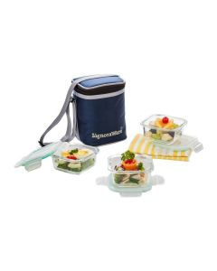 Glass Lunch Box Set with Bag (Pack of 3) - Signoraware