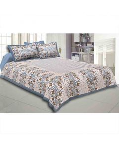 Flower And Leaf Pattern Cotton Double Bedsheet - Jaipur Fabric