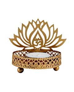 Traditional Tea Light Holder With Tea Candle (Om and Lotus Design) - Hashcart