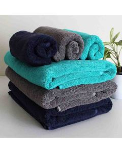 Bamboo Bath and Hand Towel Set (Pack of 6 - Blue Grey and Teal) - Heelium