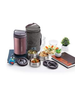 Jupiter 1.7 L Vacuum Insulated Stainless Steel Lunch Box (Rose Gold) - Homecare
