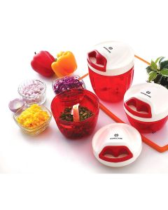 Mercury 1.0 Elite Tri Blades Mini Vegetables Chopper with Beater and Lid - 400 ml (Red) - Homecare
