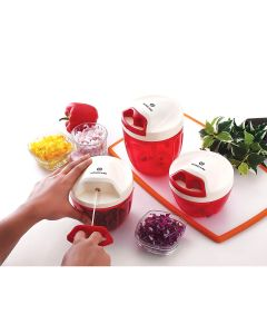 Mercury 3.0 Elite Quadra Vegetable Chopper with Beater and Lid - 900 ml (Red) - Homecare