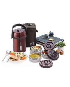 Saturn 2.0 L Vacuum Insulated Stainless Steel Lunch Box (Maroon) - Homecare