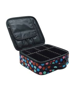 Makeup Storage Case With Adjustable Compartment (Color Dots) - House Of Quirk