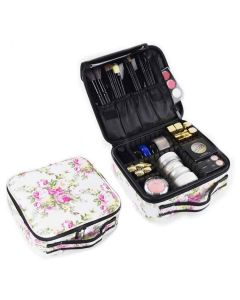 Makeup Storage Case With Adjustable Compartments (White Flowers) - House Of Quirk