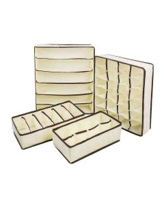 Foldable Storage Drawer Organizer (Beige - Pack of 4) - House of Quirk
