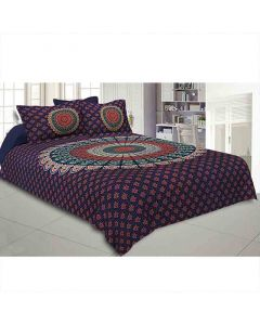 Floral And Mandala Print Bedsheet With Two Pillow Covers - Jaipur Fabric