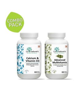 Combo Pack of Calcium and Vitamin D3 and 4G Advanced Multivitamin Capsules - La Nature's