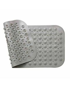 Vinyl Anti-Slip Bath Mat with Suction Cups (Grey, 90 x 58 cm) - LifeKrafts