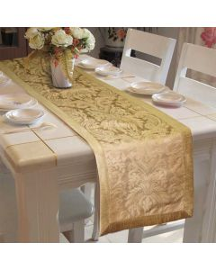 Gold Jacquard Table Runner With Polyester Border - Lushomes